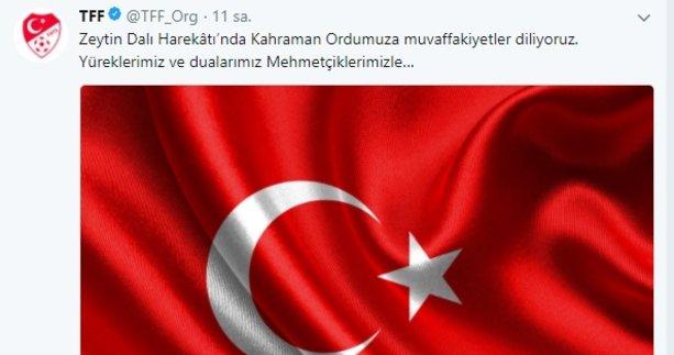 Süper Lig kulüplerinden Zeytin Dalı Harekatına destek