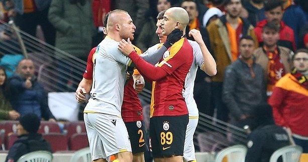 Galatasaray - Yeni Malatyaspor maçında büyük gerginlik! Sofiane Feghouli ve Gökhan Töre...