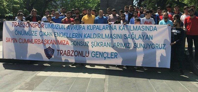 Trabzonspor taraftarından Başkan Erdoğan'a teşekkür
